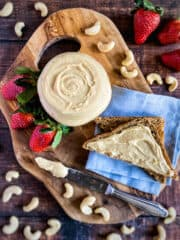 Easy cashew butter with toast and strawberries.
