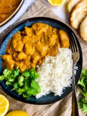 Vegan butter chicken in a bowl with rice.