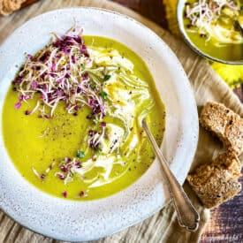 Bowl of vegan leek and potato soup.