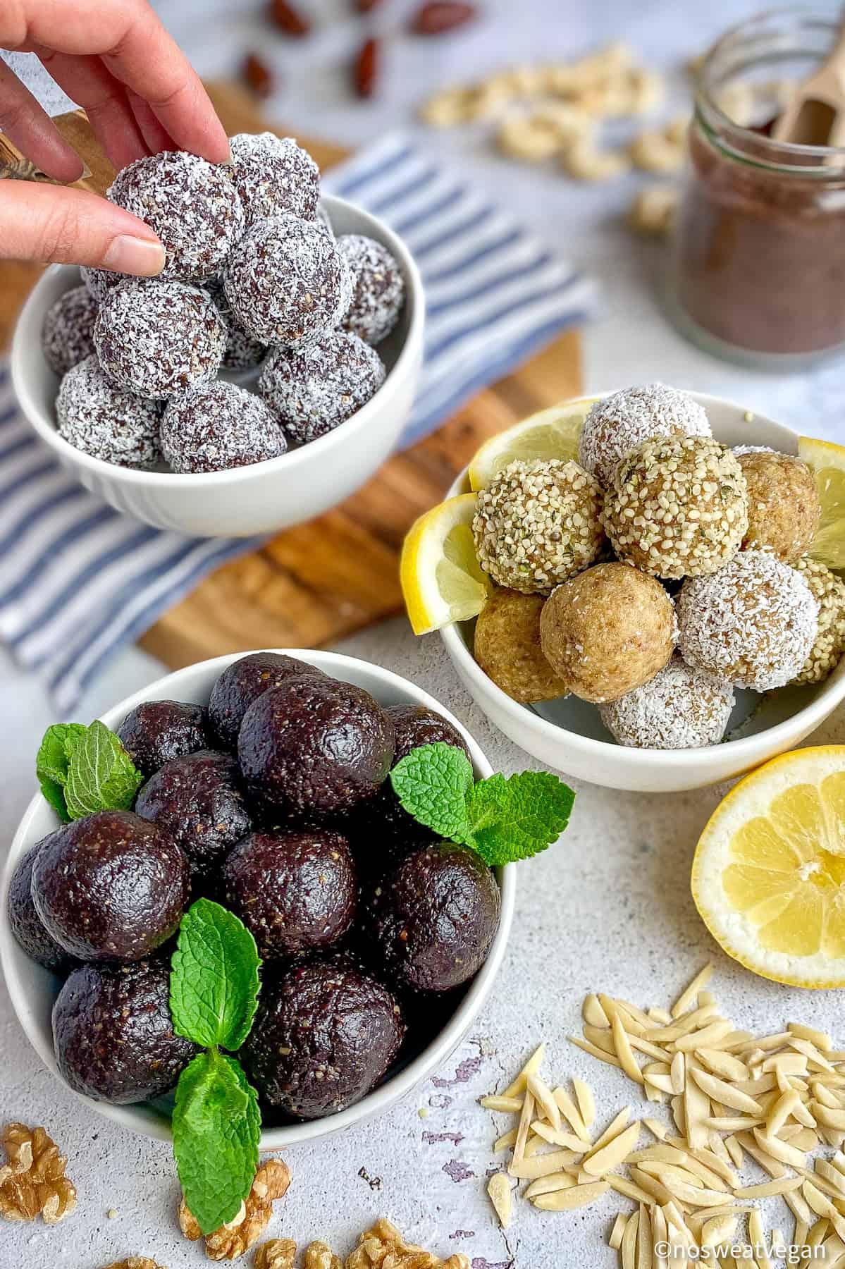 Bliss Balls 3 Ways: Caramel Delight, Lemon, and Thin Mint.
