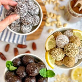 Girl Scout Cookie Inspired Bliss Balls in three bowls: Thin Mint, Lemon, and Samoas.
