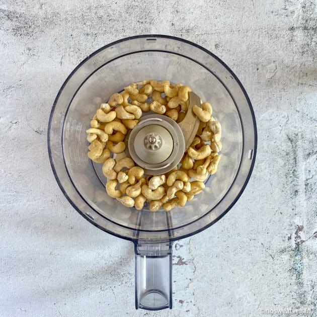 Cashews in food processor.