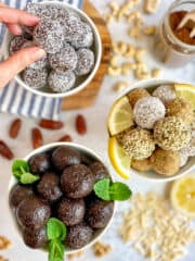 Bliss Balls: Three Girl-Scout Cookie flavors. (Thin Mint, Lemon, and Samoas.)