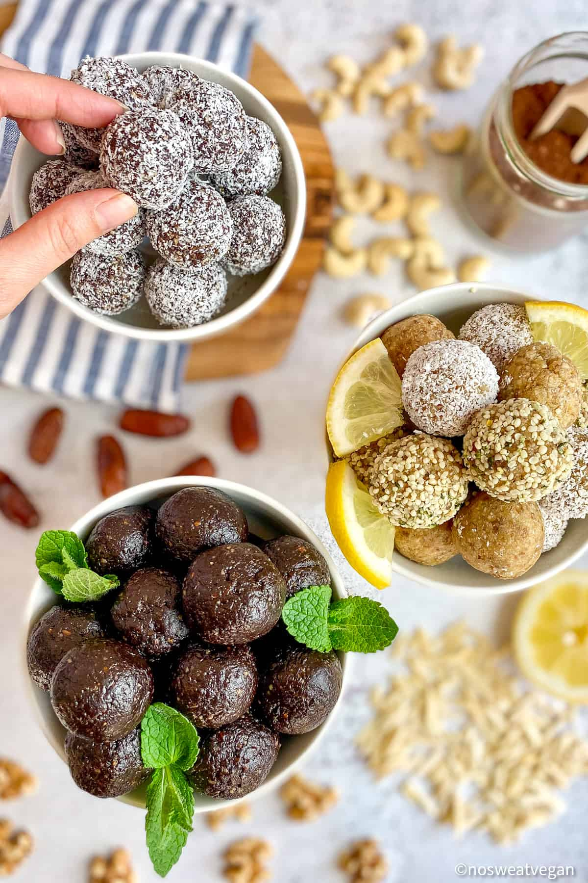 Bliss Balls: Three Girl-Scout Cookie flavors. (Thin Mint, Lemon, and Caramel Delight.)
