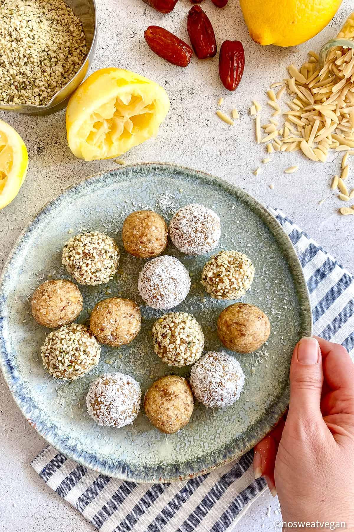 Lemon Bliss Balls on plate.
