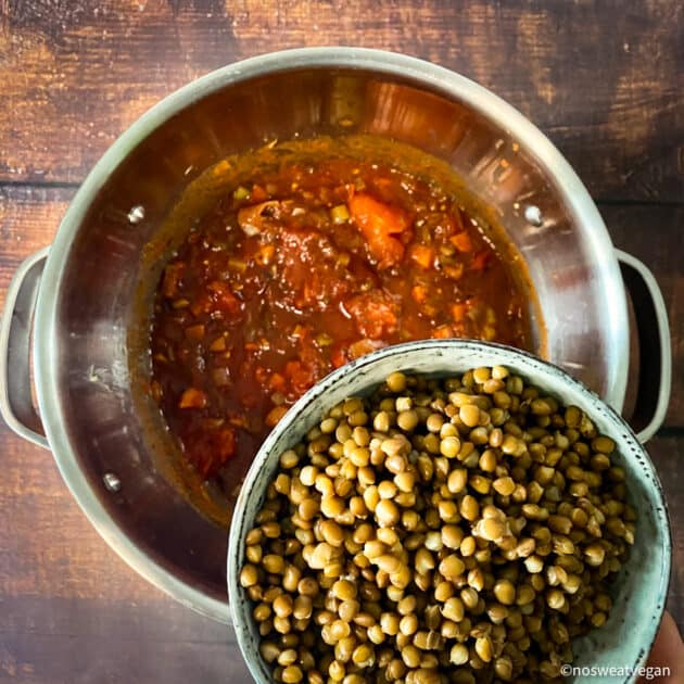 Add the lentils and tomatoes.