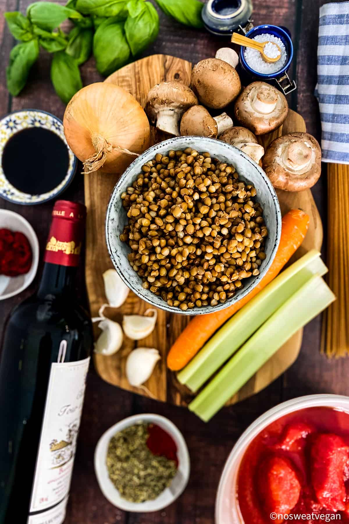 Ingredients for Vegan Bolognese with Lentils.