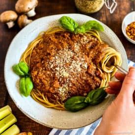 Vegan Spaghetti Bolognese in a bowl.