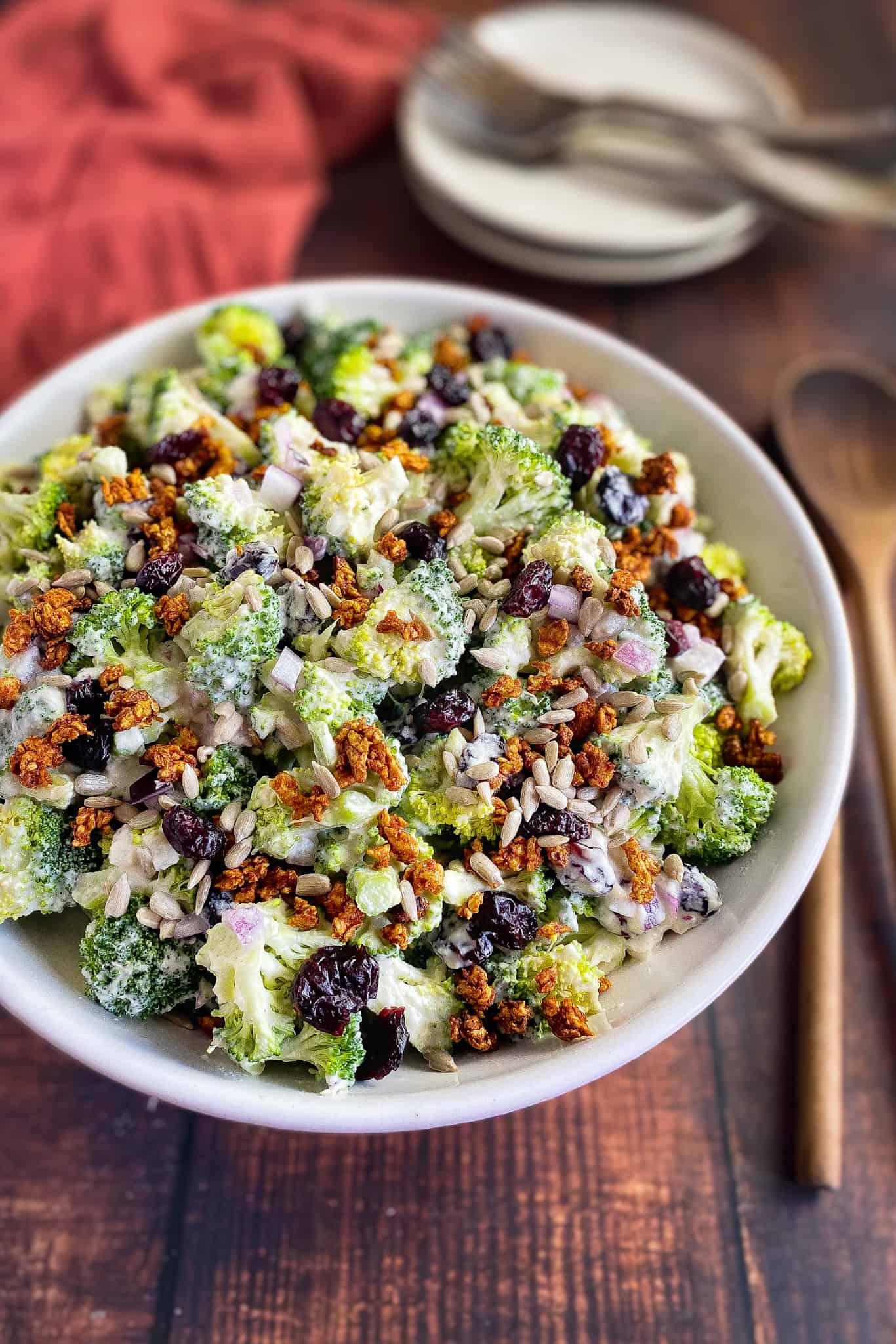 No mayo broccoli salad in bowl.