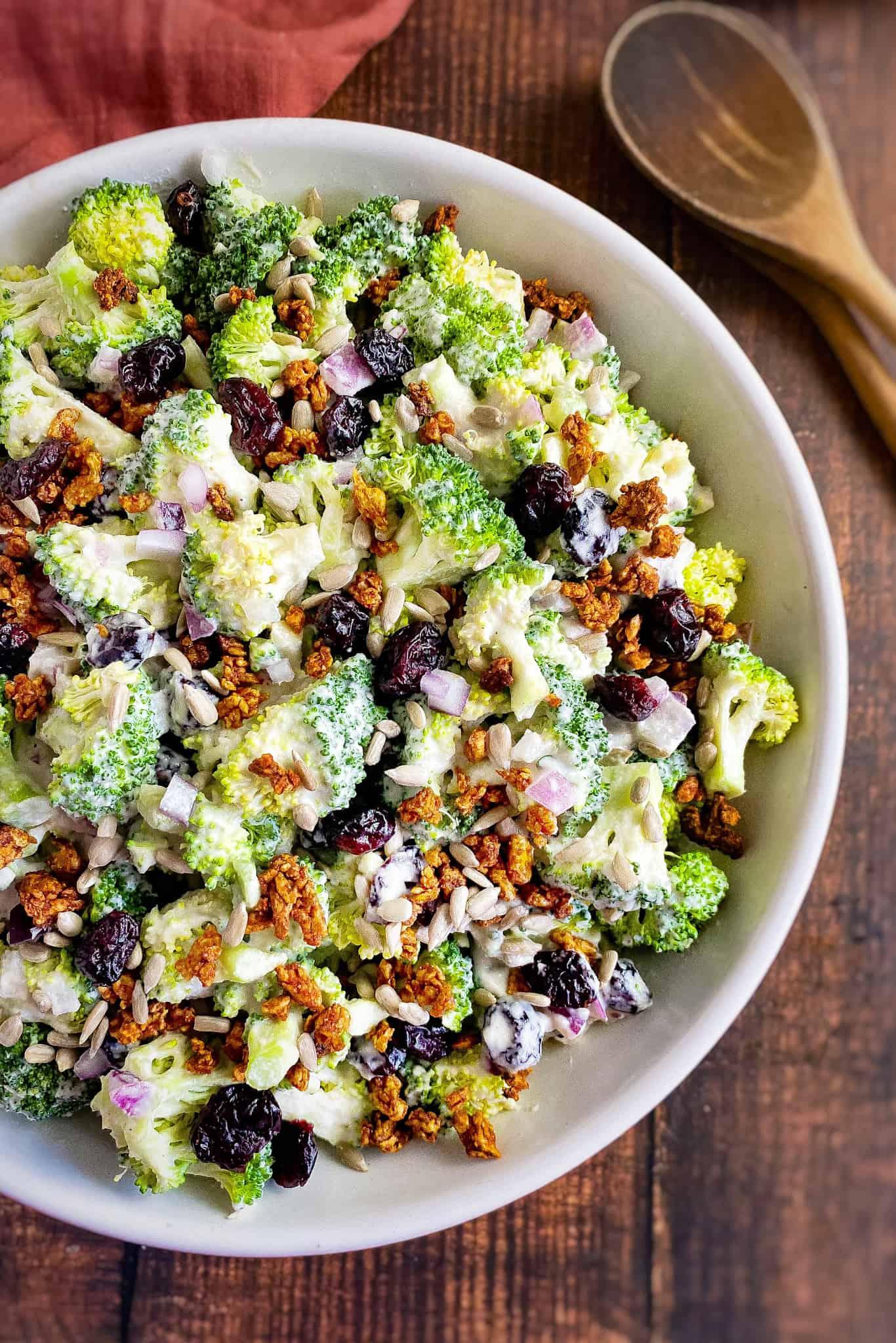 Vegan broccoli salad in bowl.