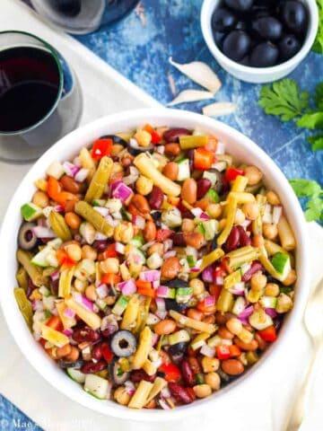 Five bean salad in bowl.