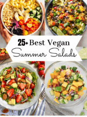 Best Vegan Summer Salads collage: mediterranean pasta salad, southwest quinoa salad, spinach strawberry salad, and cucumber mango salad.