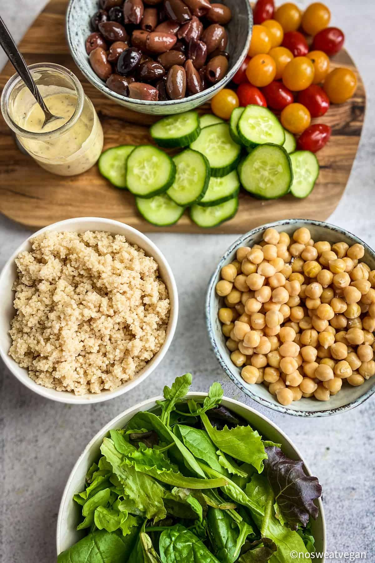 ingredients for a vegan greek buddha bowl.