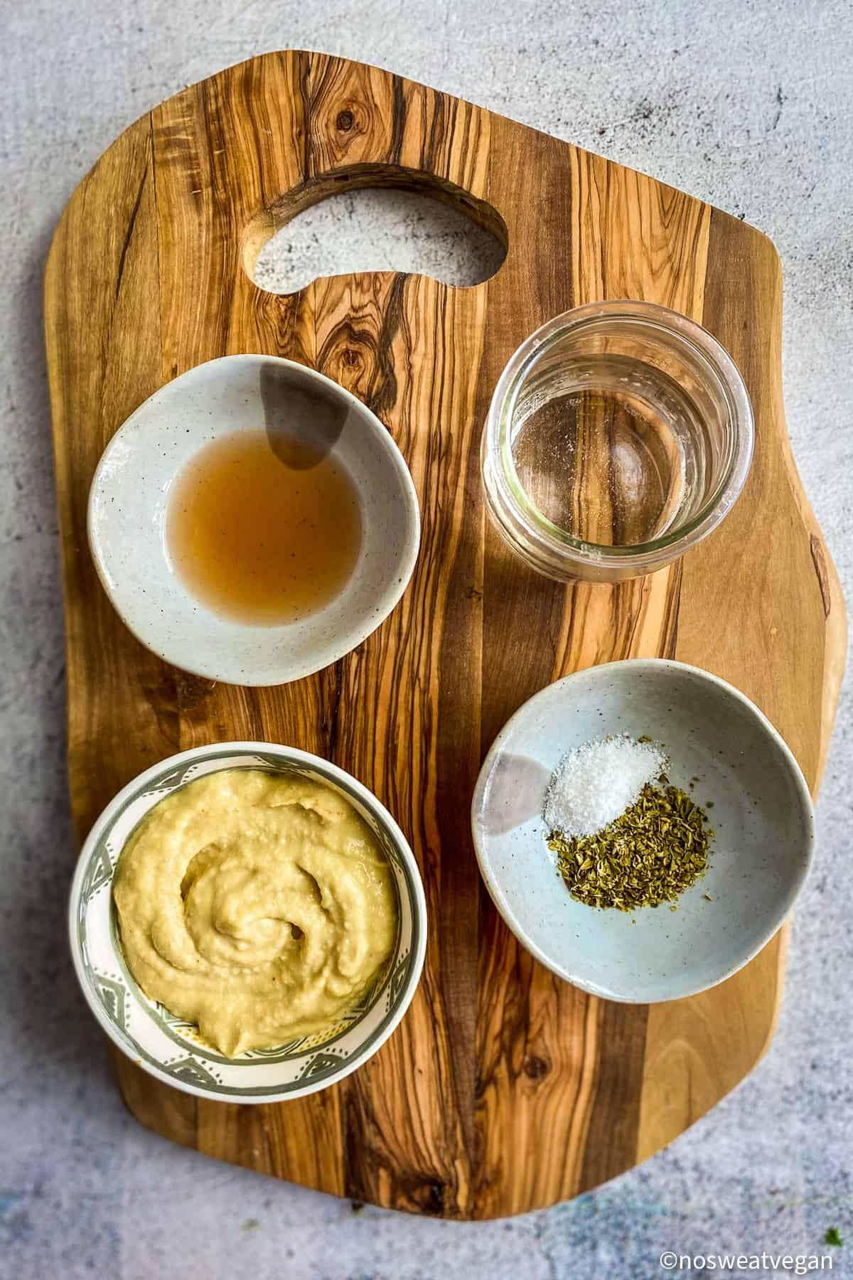Ingredients for hummus dressing.