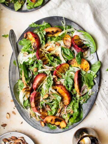 Grilled peach salad.