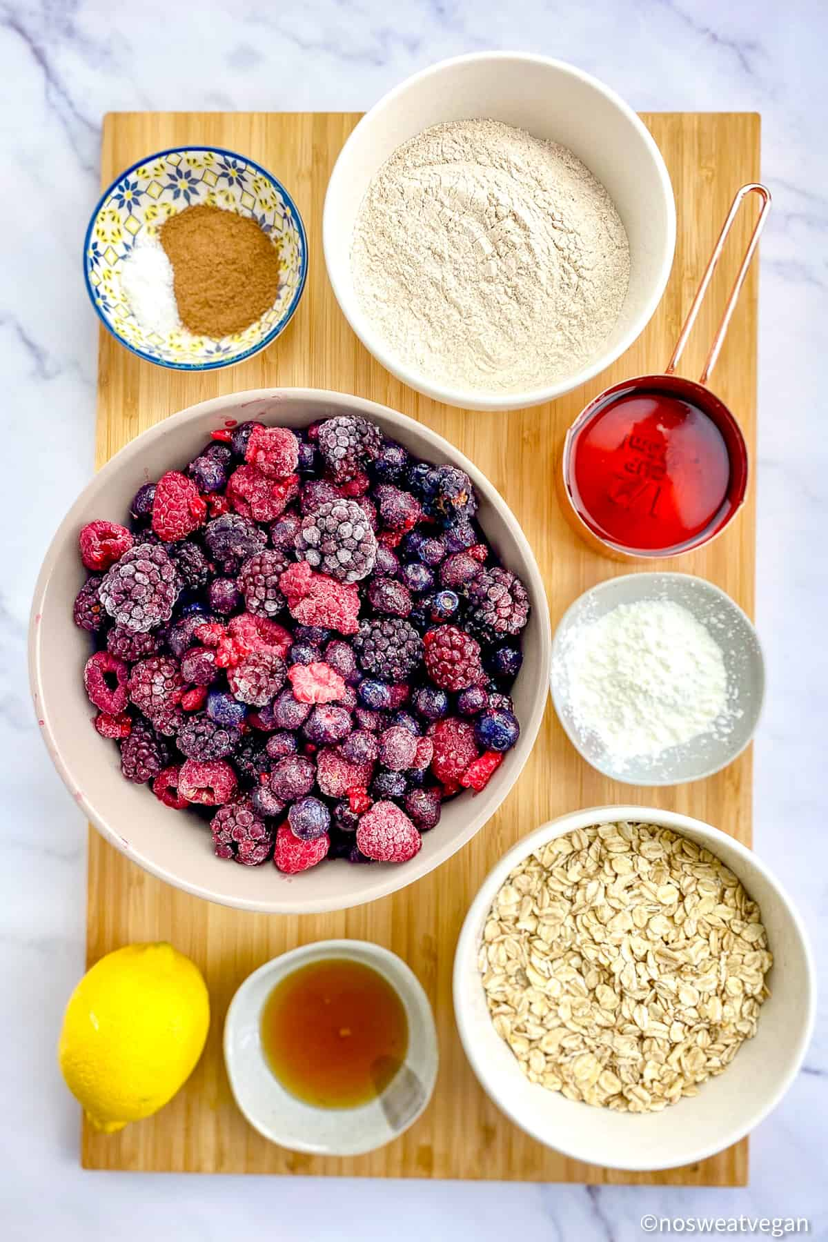 Ingredients for vegan berry crumble.