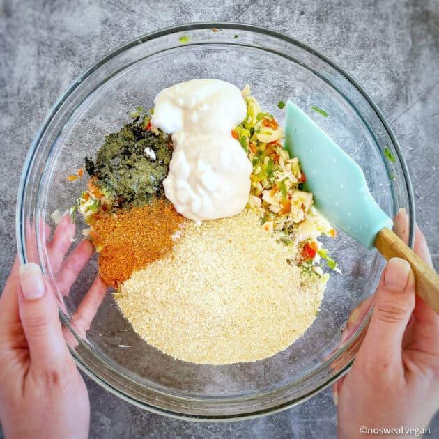 Bowl with vegan crab cake ingredients unmixed.