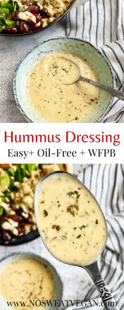 Vegan Hummus dressing pin.