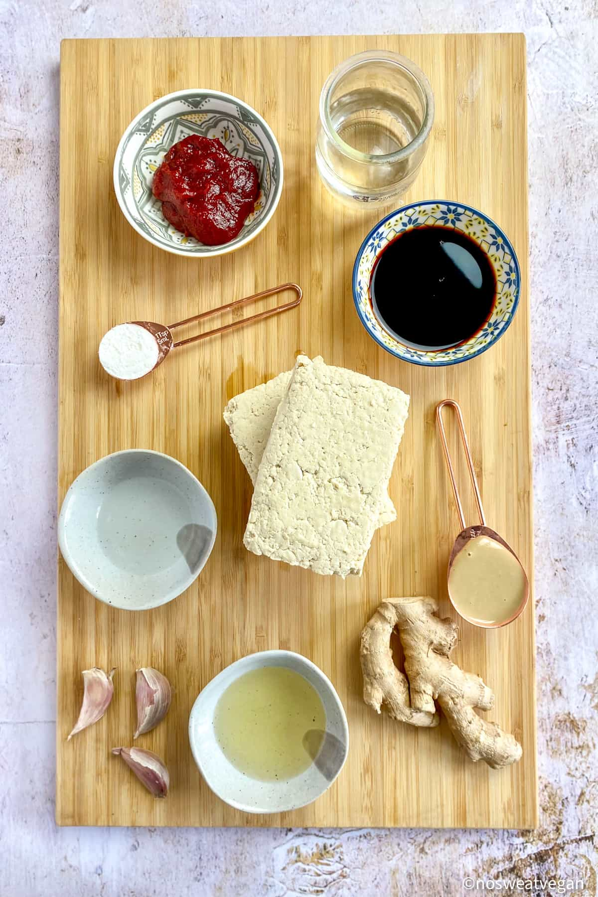 Ingredients for Korean tofu.