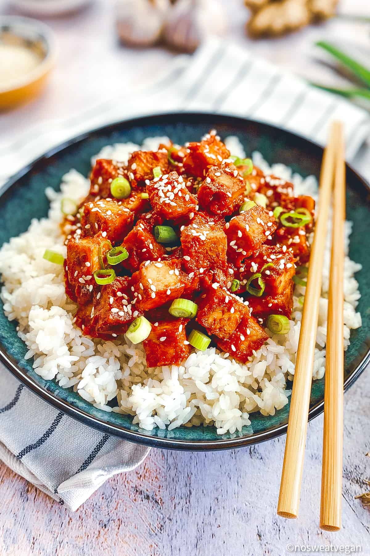 Bowl with closeup of spicy Korean tofu with rice.