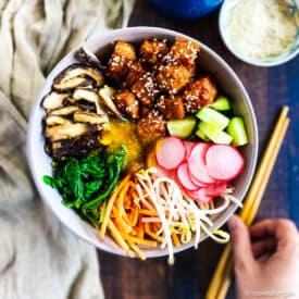 Best vegan bibimbap in a bowl with tofu.