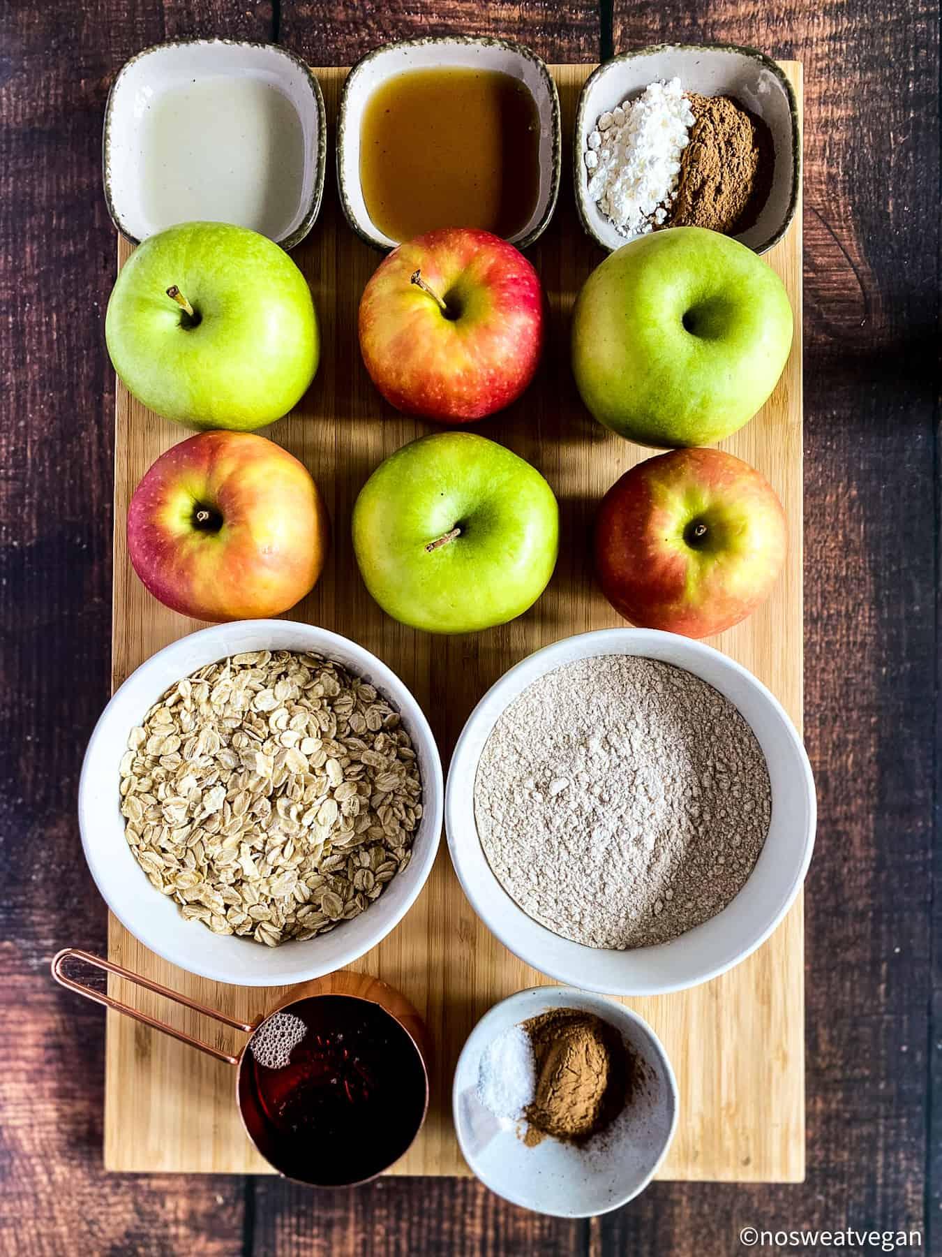 Ingredients for vegan apple crisp.