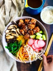 Bowl with vegan bibimbap.