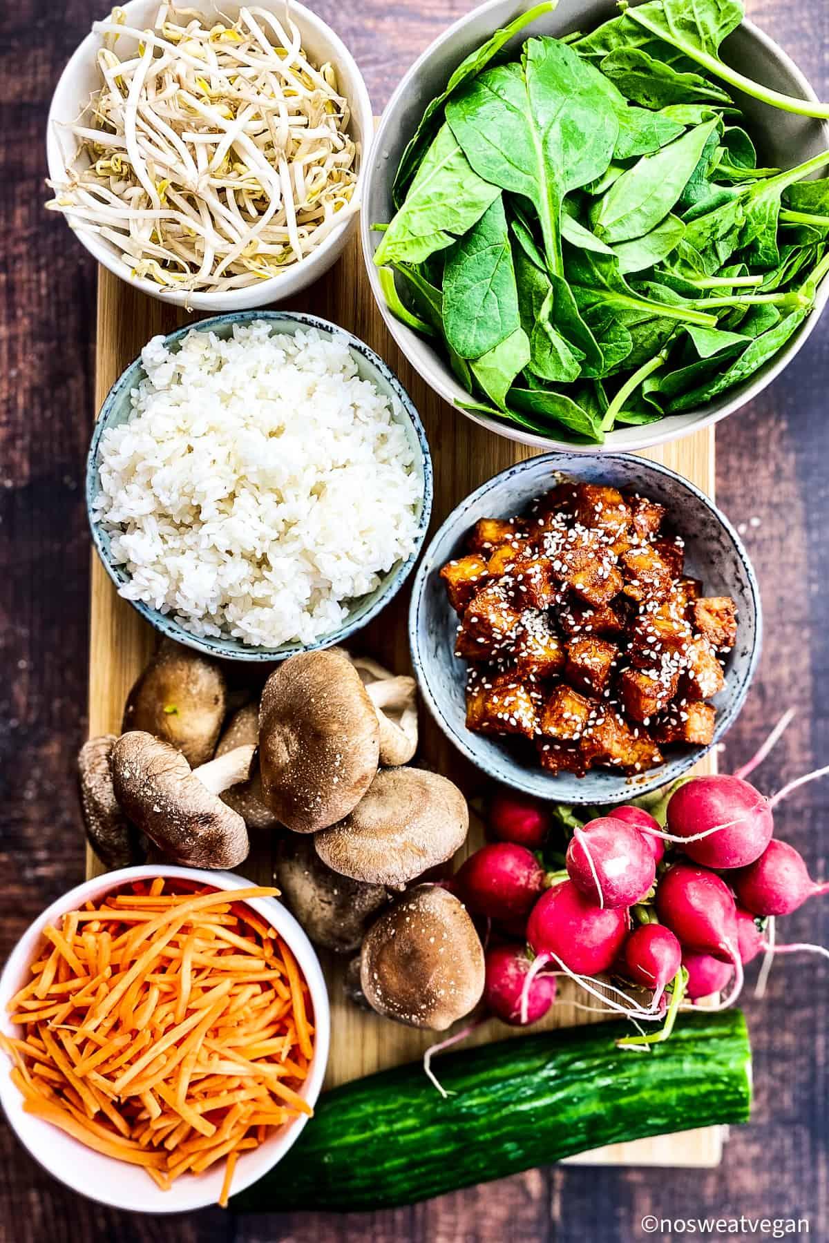 Vegan ingredients for bibimbap.