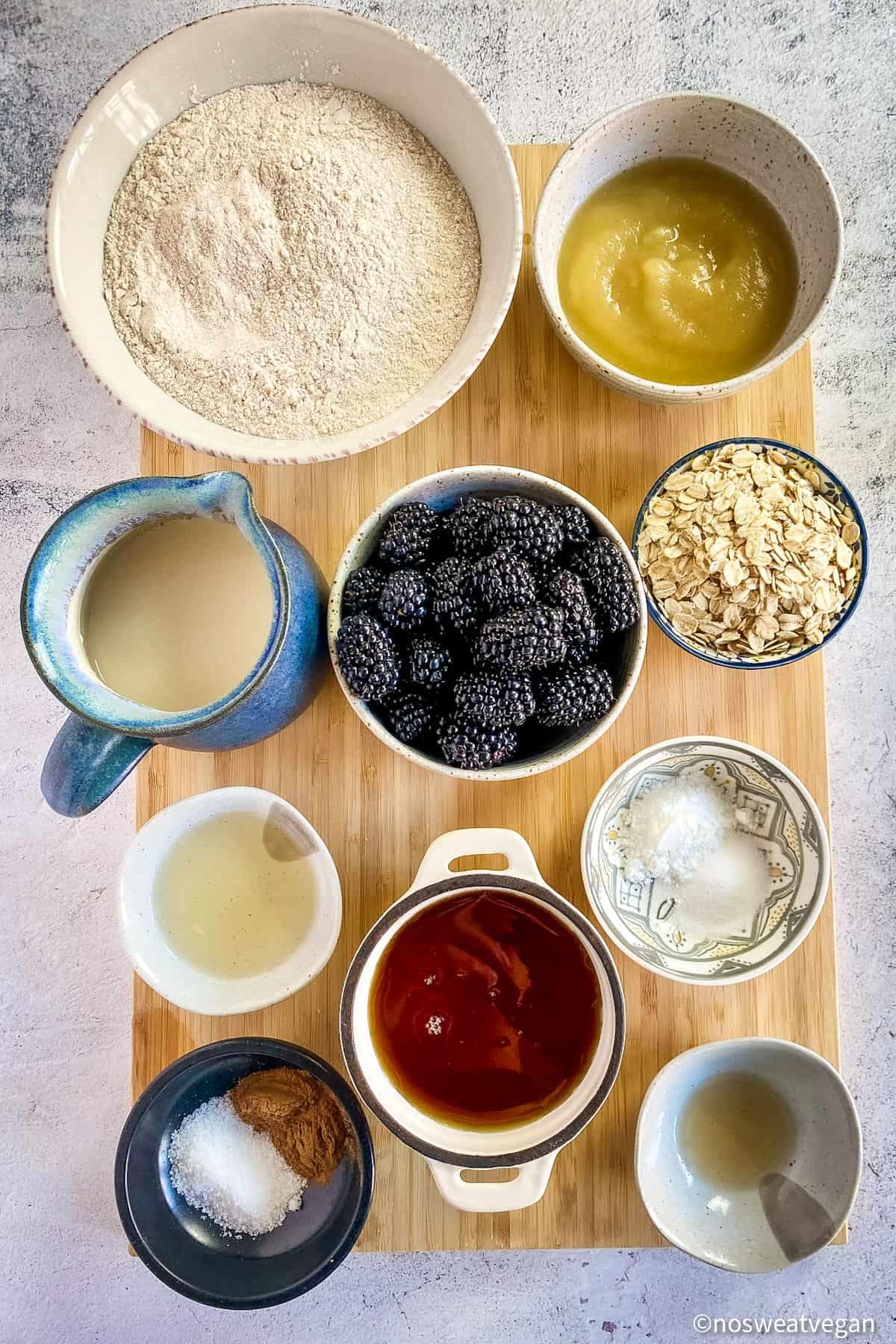 Ingredients to make vegan blackberry muffins.