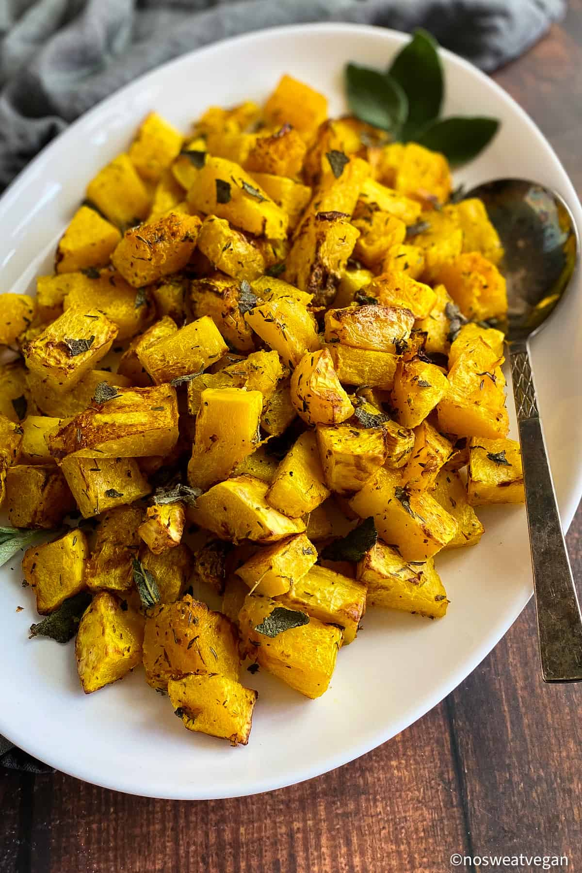 Air Fried Butternut Squash on a plate with sage.