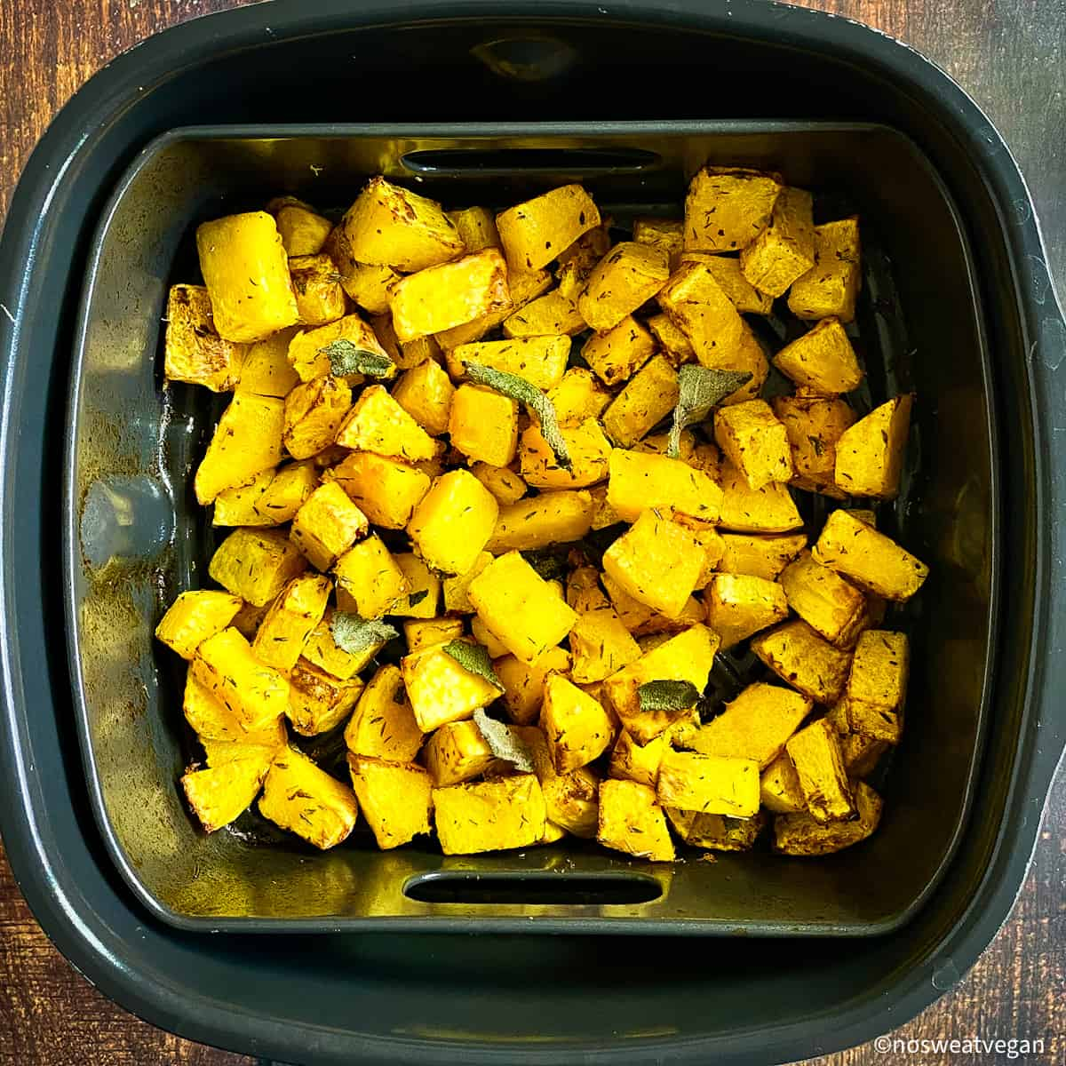 Butternut squash cooked in air fryer.