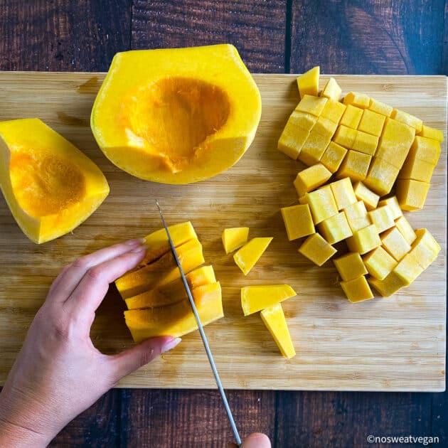 Cubed butternut squash.