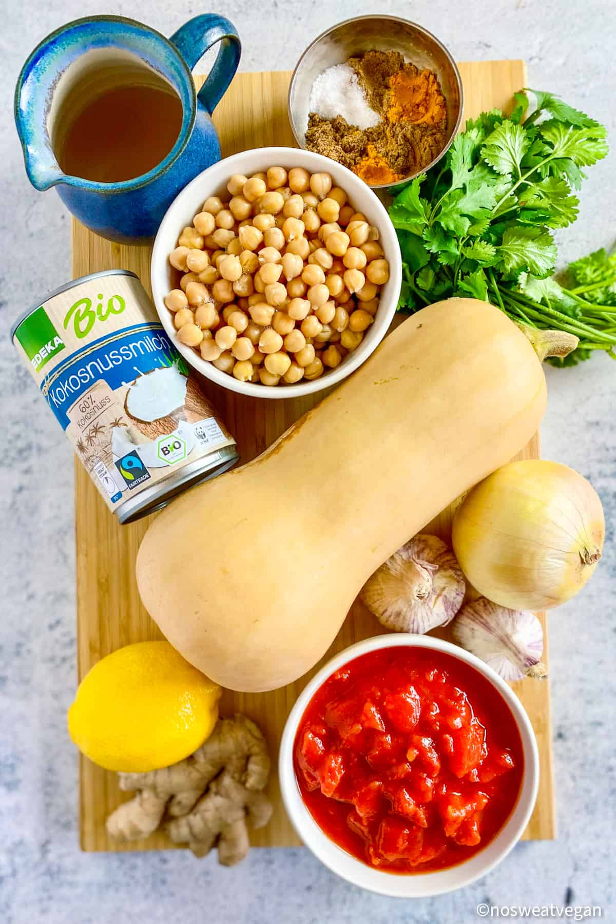 Butternut squash and chickpea curry ingredients.