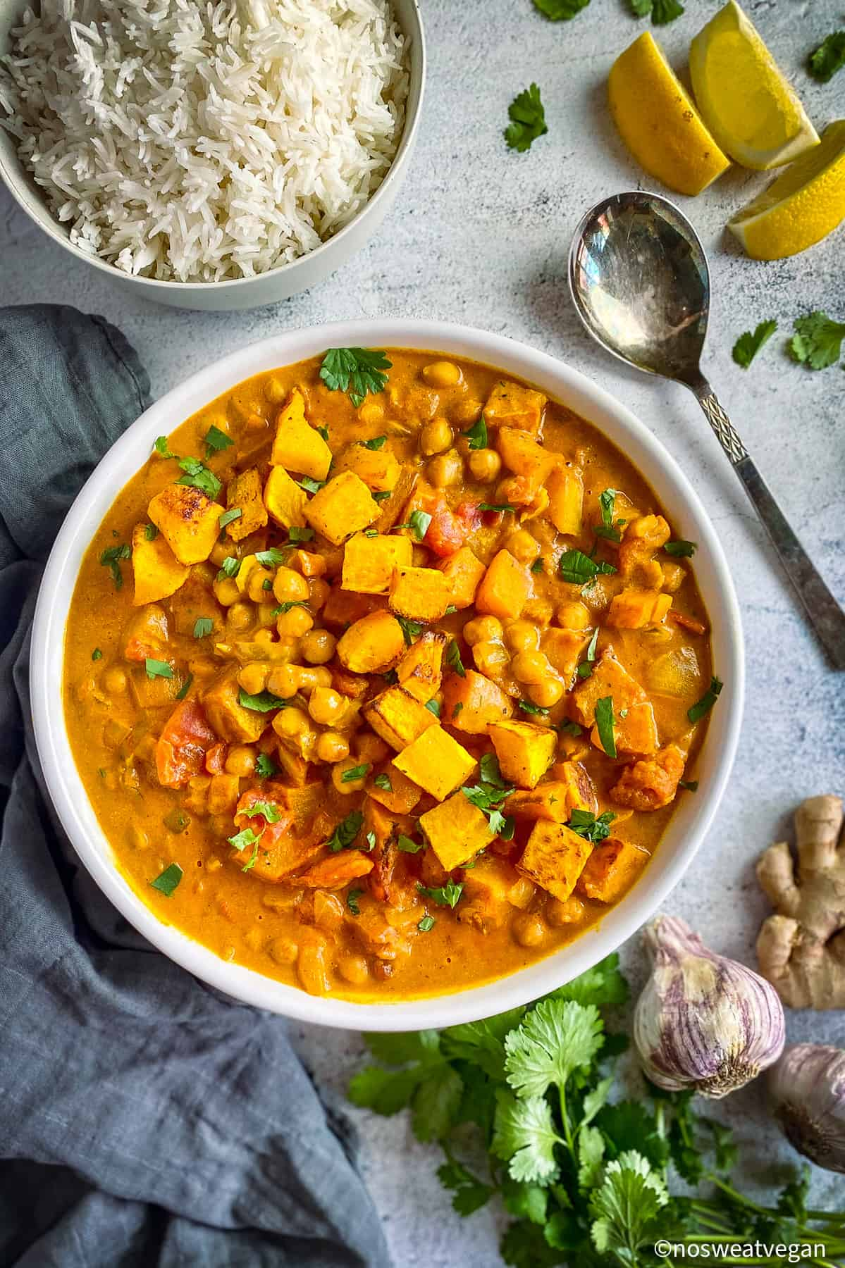 Butternut squash and chickpea curry.