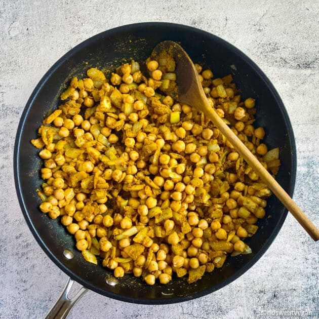 Add chickpeas to the butternut squash curry.