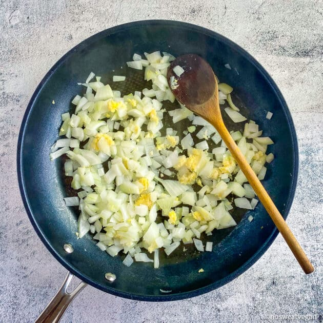 Sautee onions with garlic and ginger.